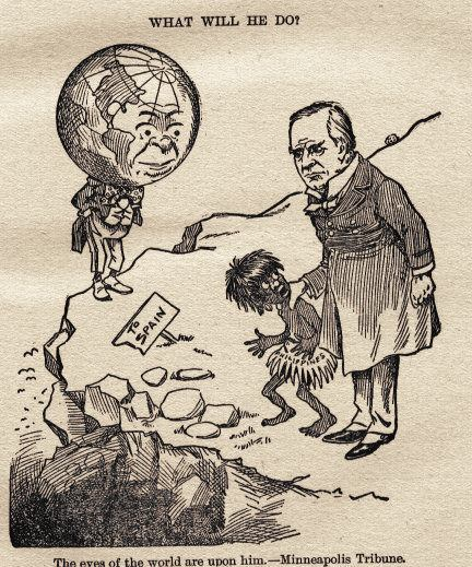 1898 political cartoon showing U.S. President McKinley with a child 'savage'.