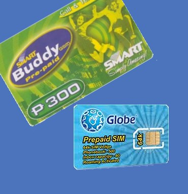 A SMART load card and a GLOBE SIM card