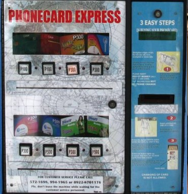Phone card vending machine in NAIA-2