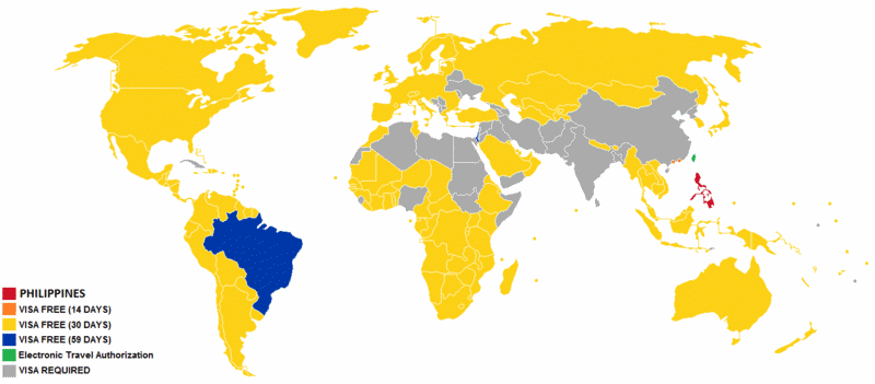 The Philippines Visa Map