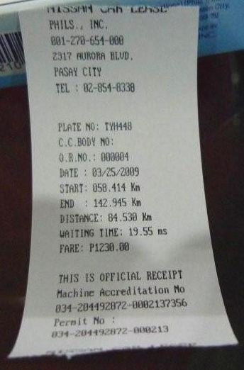 Sample of a correct taxi bill