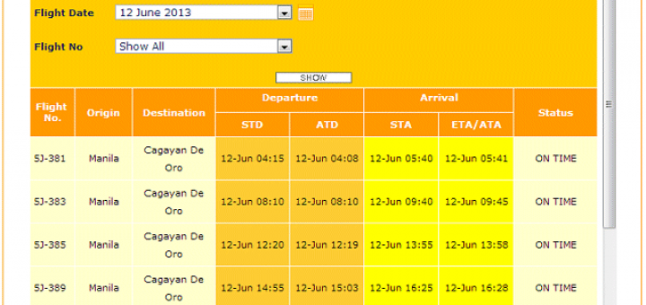 MNL-CGY 2013-06-12 flight stats
