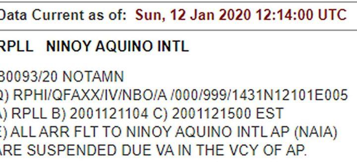Manila AIrport NOTAM ref. Taal Volcano