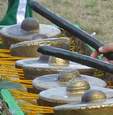 Kulintang - a row of small brass or bronze gongs