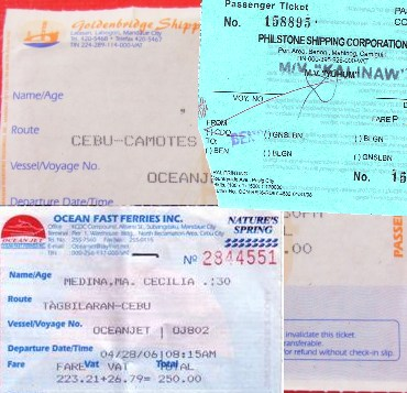 Tickets of provincial shipping companies