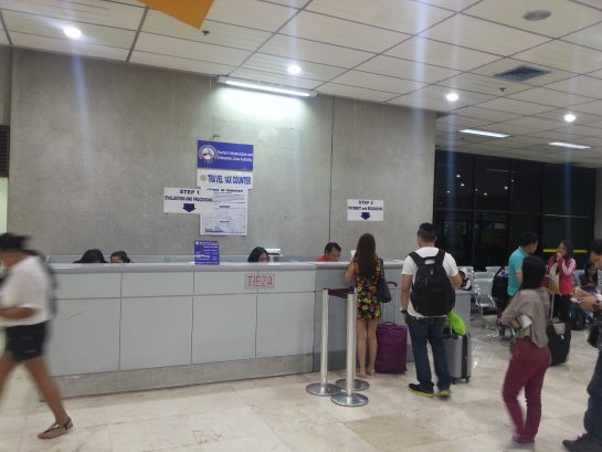 Travel tax counter in Cebu-Mactan