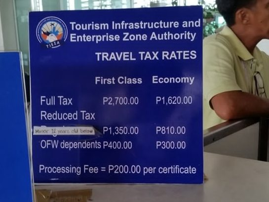 Travel tax tariffs